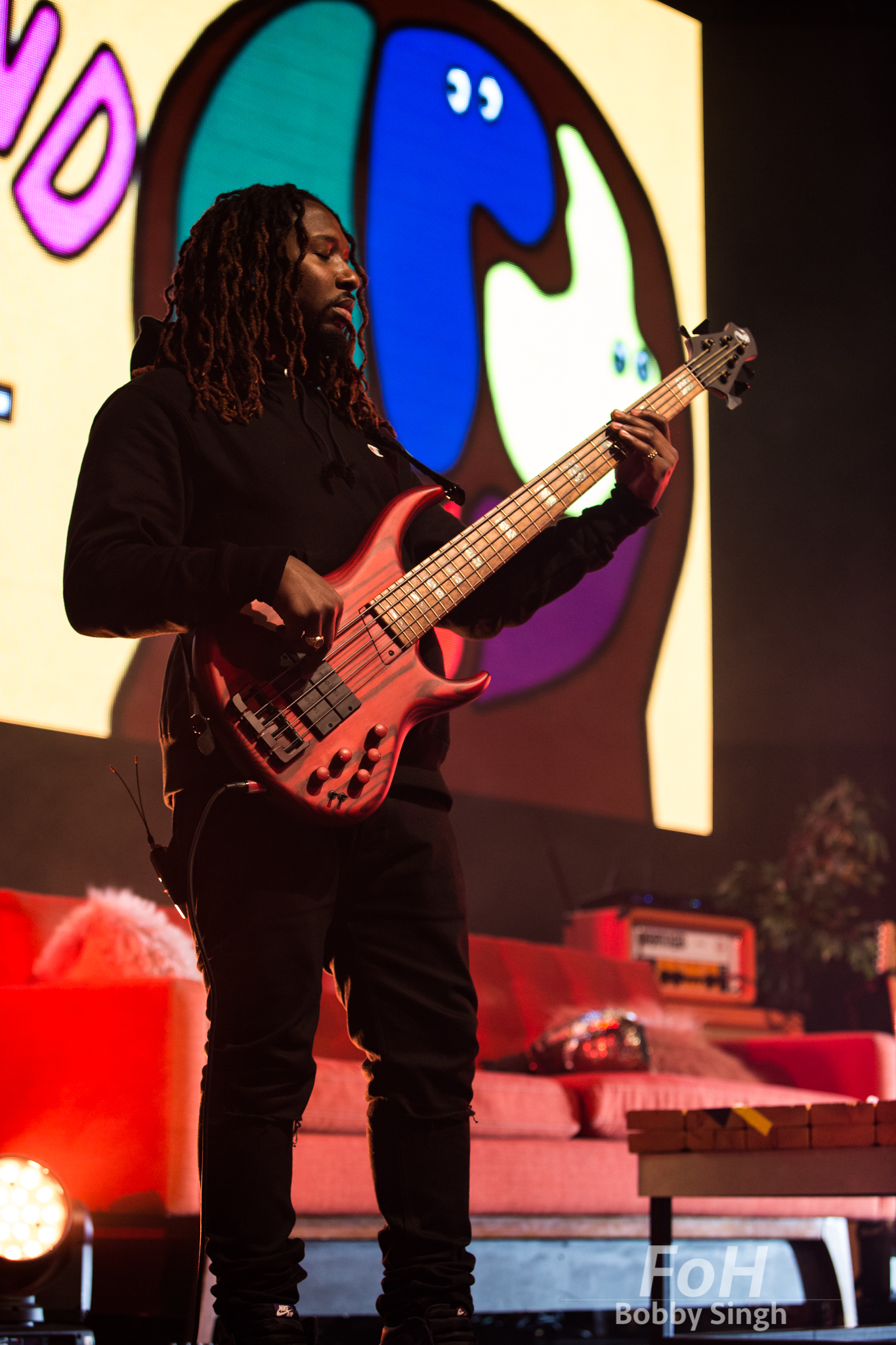Toronto, CANADA. 09th, December 2018. The Internet bassist Patrick Paige II performs at Rebel Nightclub