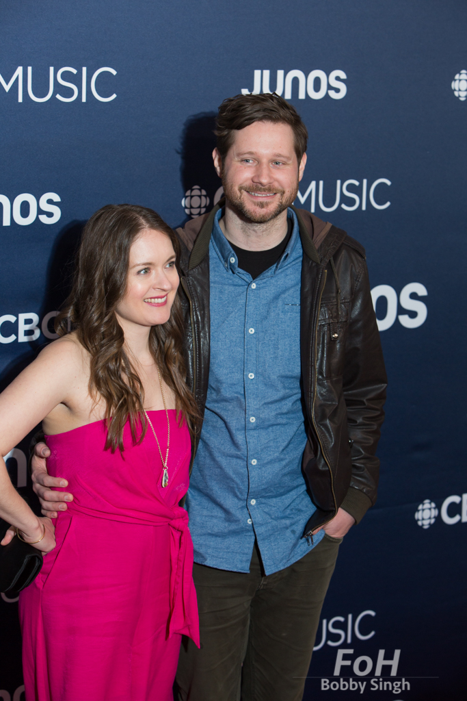 Kristen Slenning and Dan Mangan on the 2019 JUNO Awards red carpet at Budweiser Gardens, in London, Ontario, CANADA