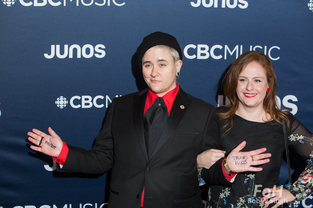 Comedian Chanty Marostica on the 2019 JUNO Awards red carpet at Budweiser Gardens, in London, Ontario, CANADA