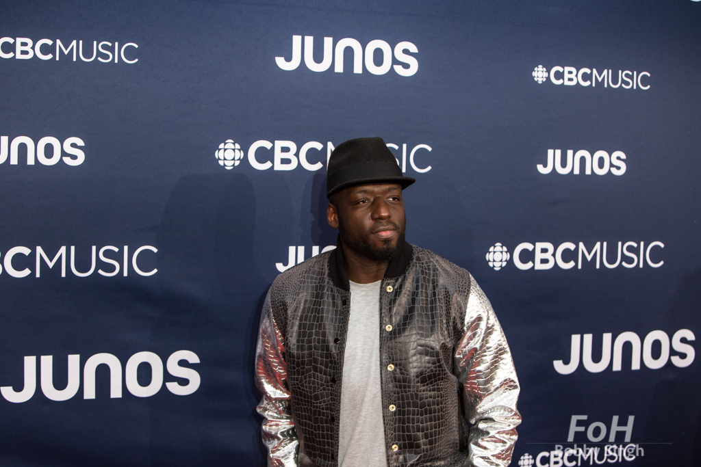 Odario Williams on the 2019 JUNO Awards red carpet at Budweiser Gardens, in London, Ontario, CANADA
