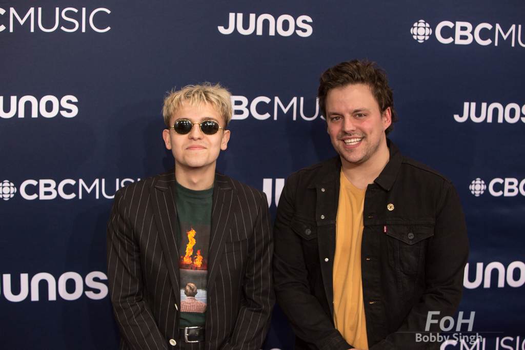 Scott Helman and Ben Knichter on the 2019 JUNO Awards red carpet at Budweiser Gardens, in London, Ontario, CANADA
