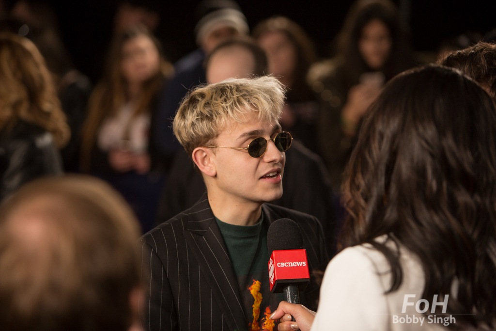 Scott Helman interviewed on the 2019 JUNO Awards red carpet at Budweiser Gardens, in London, Ontario, CANADA