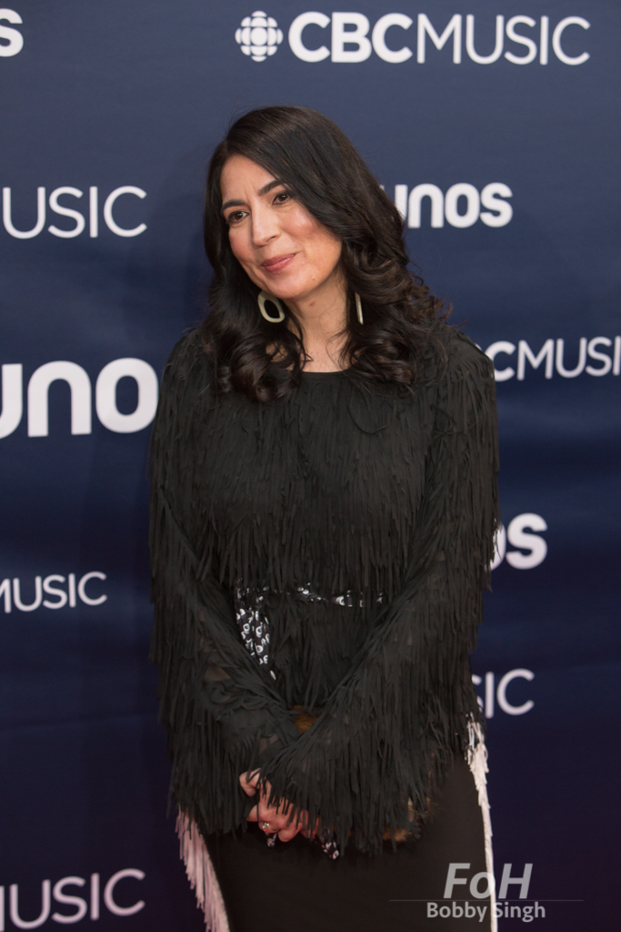 Tanya Talaga on the 2019 JUNO Awards red carpet at Budweiser Gardens, in London, Ontario, CANADA