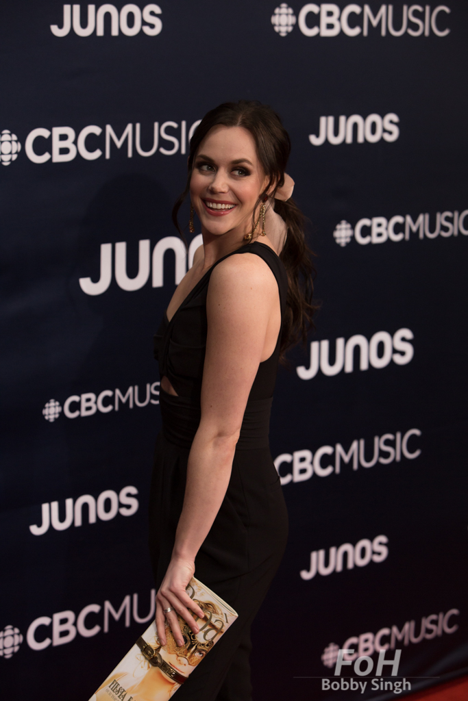 Champion figure skater Tessa Virtue on the 2019 JUNO Awards red carpet at Budweiser Gardens, in London, Ontario, CANADA