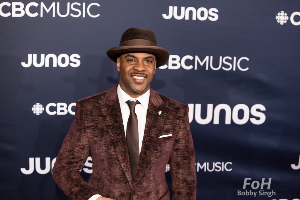 Maestro Fresh Wes on the 2019 JUNO Awards red carpet at Budweiser Gardens, in London, Ontario, CANADA