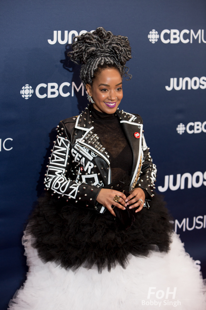 Amanda Parris on the 2019 JUNO Awards red carpet at Budweiser Gardens, in London, Ontario, CANADA