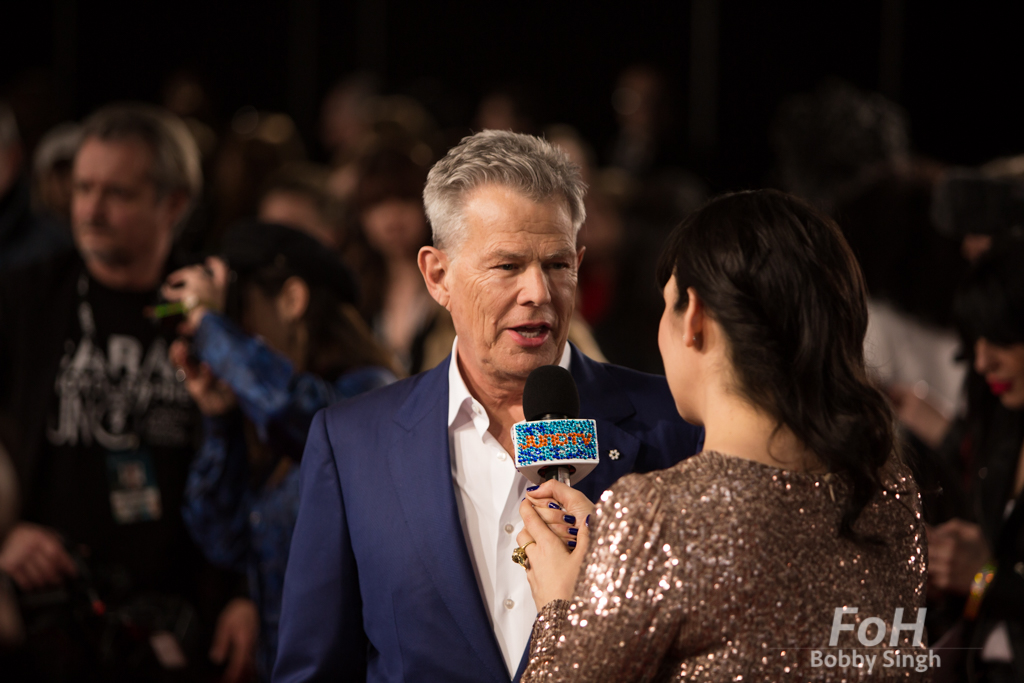 David Foster being interviewed on the 2019 JUNO Awards red carpet at Budweiser Gardens, in London, Ontario, CANADA