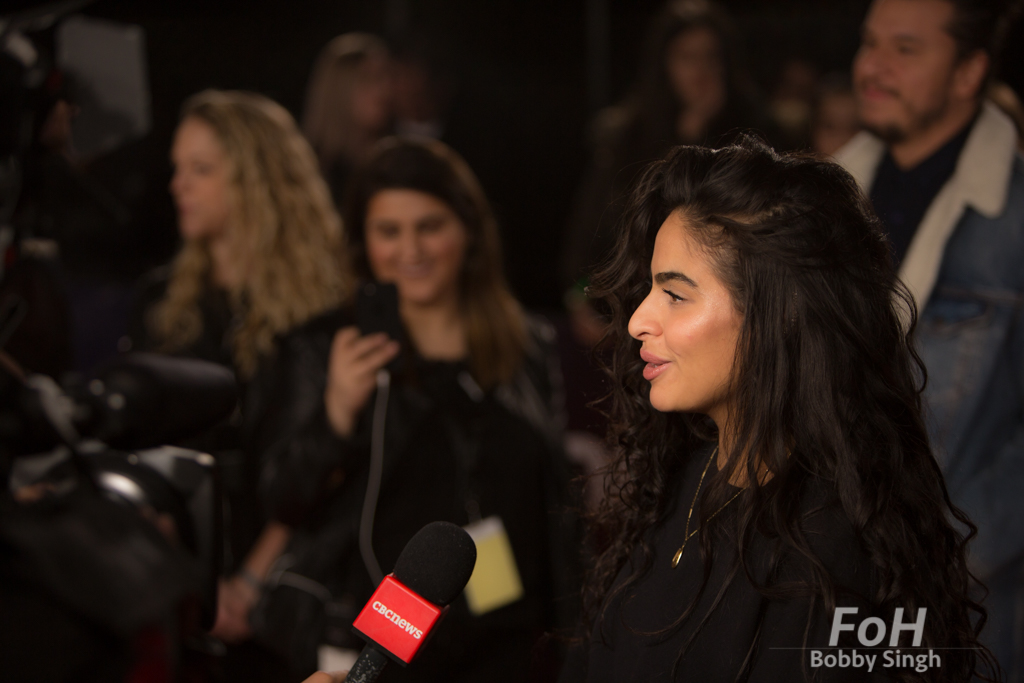 Jessie Reyez being interviewed on the 2019 JUNO Awards red carpet at Budweiser Gardens, in London, Ontario, CANADA