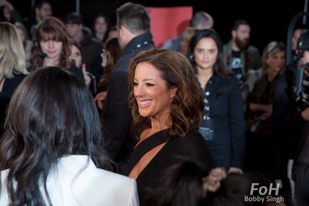 Sarah McLachlan being interviewed on the 2019 JUNO Awards red carpet at Budweiser Gardens, in London, Ontario, CANADA