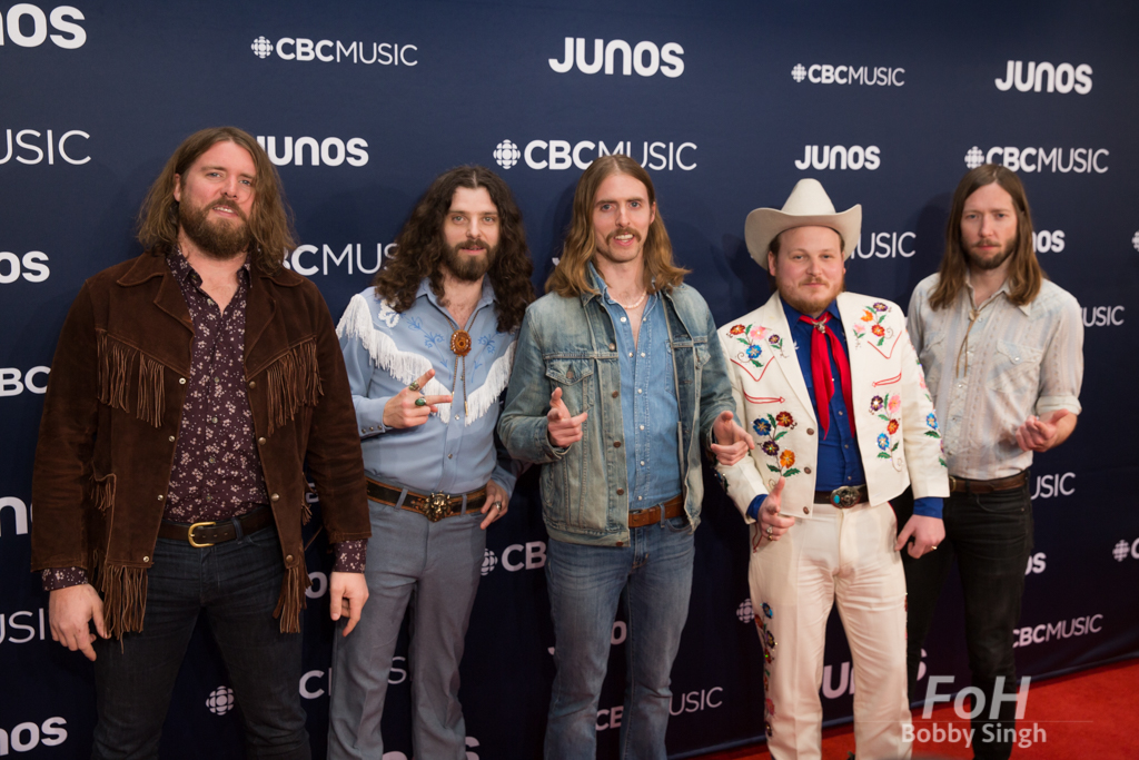 The Sheepdogs on the 2019 JUNO Awards red carpet at Budweiser Gardens, in London, Ontario, CANADA