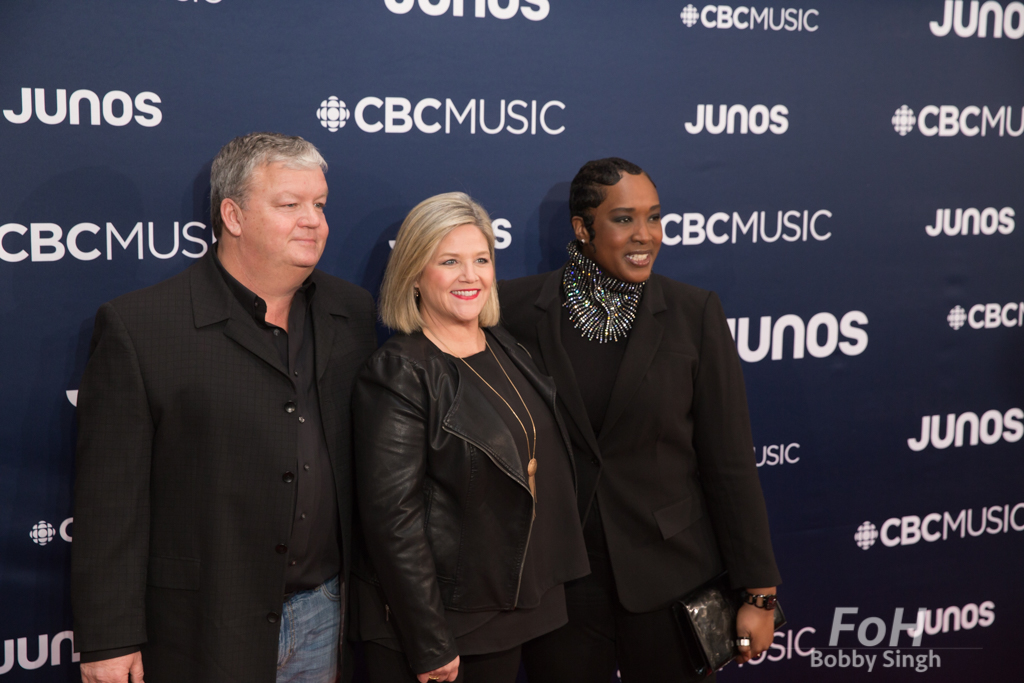 Andrea Horwatch and Jill Miller on the 2019 JUNO Awards red carpet at Budweiser Gardens, in London, Ontario, CANADA