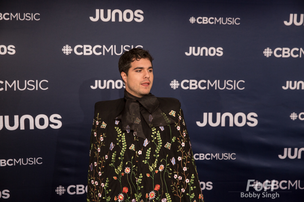 Jeremy Dutcher on the 2019 JUNO Awards red carpet at Budweiser Gardens, in London, Ontario, CANADA