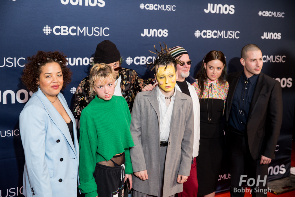 Jasmyn Burke of Weaves, Hubert Lenoir and guests on the 2019 JUNO Awards red carpet at Budweiser Gardens, in London, Ontario, CANADA