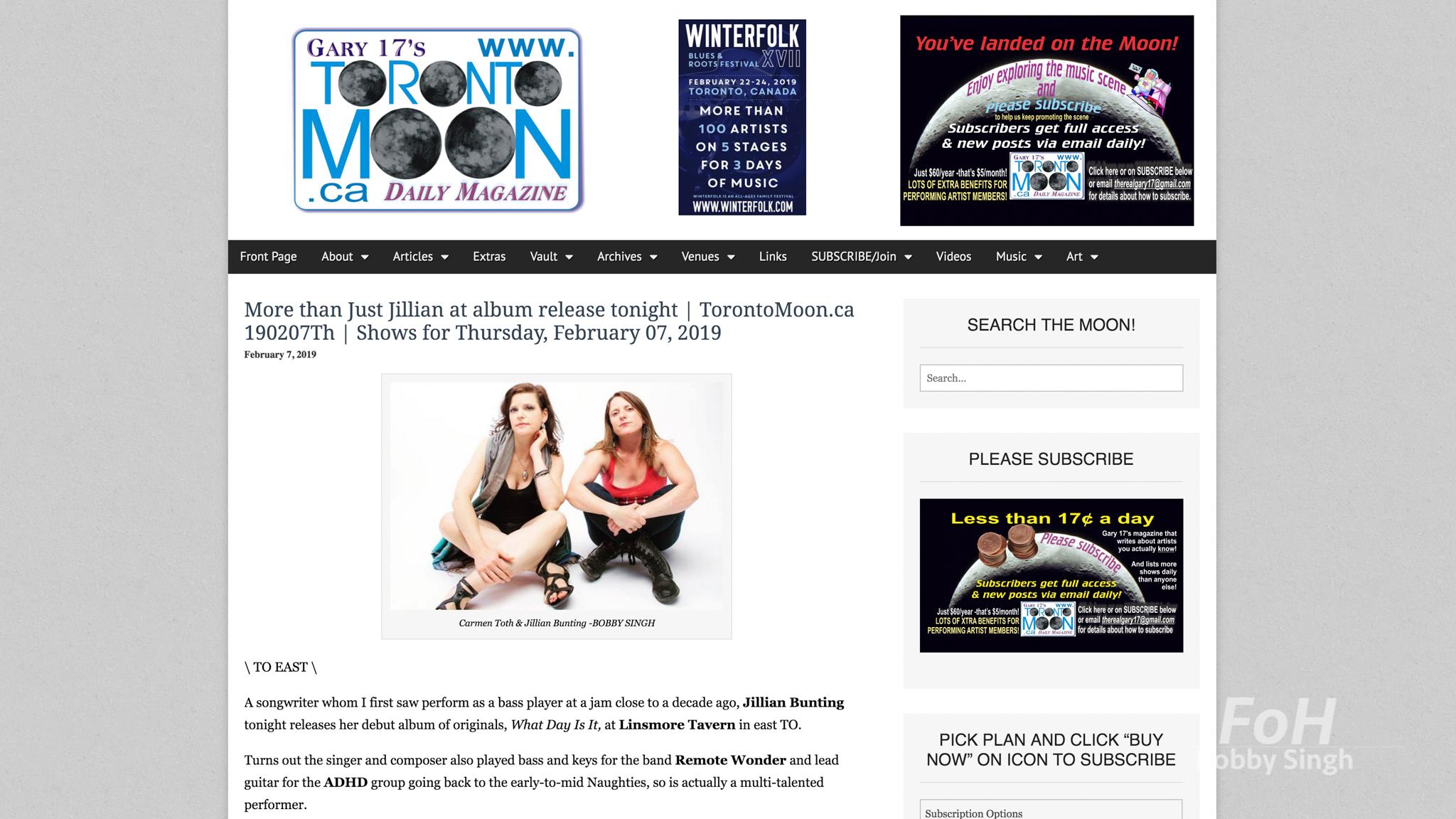 """""""Carmen Toth & Just Jillian"""". Toronto Moon. 02.07.2019"""