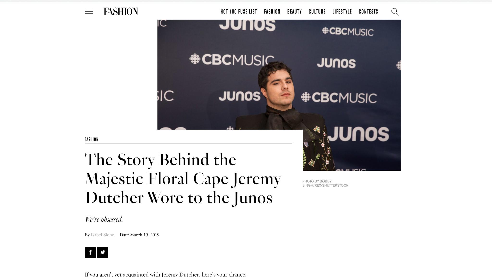 """Jeremy Dutcher"". Fashion Magazine. 03.19.2019"
