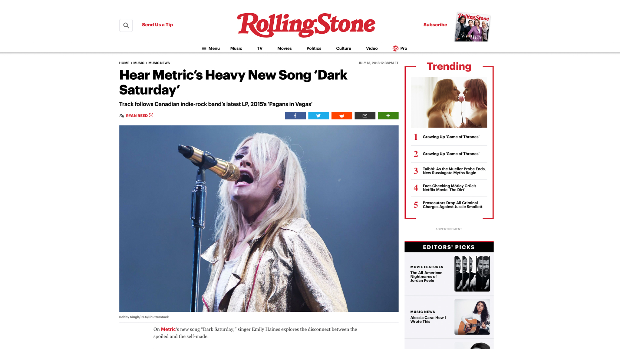 """Metric"". Rolling Stone. 07.13.2018"