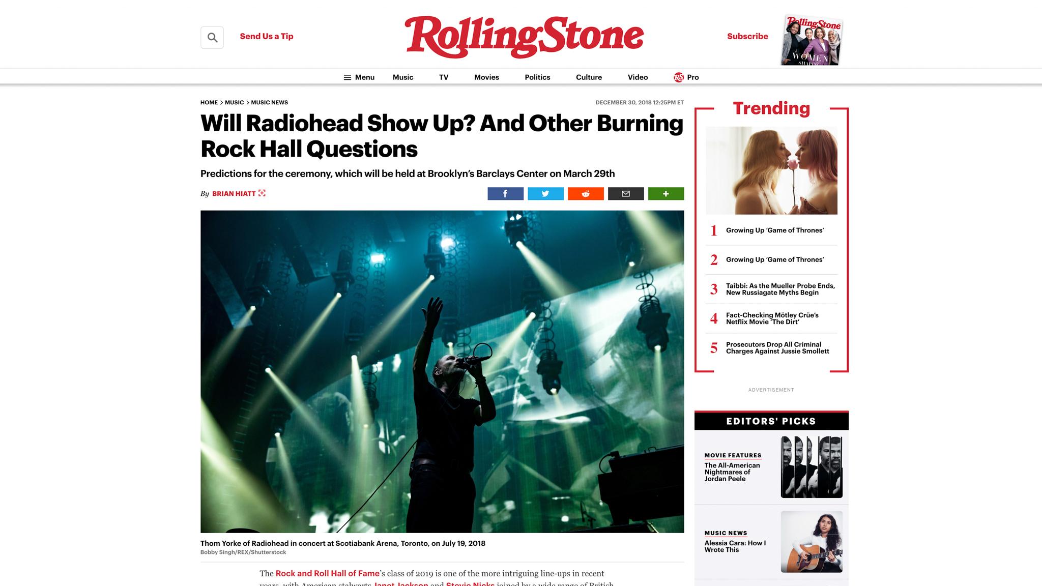 """Radiohead"". Rolling Stone. 12.30.2018"