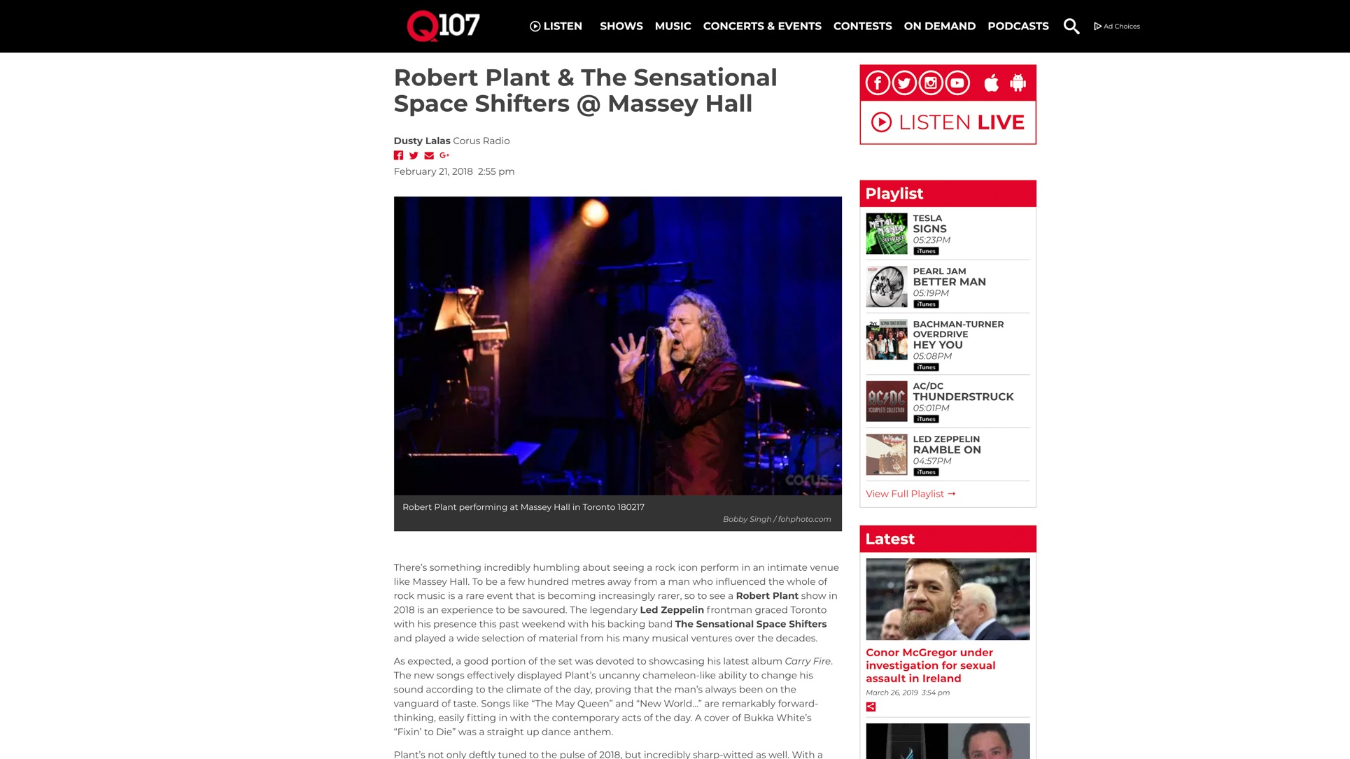 """Robert Plant"". Q107/Corus Radio. 02.21.2018"