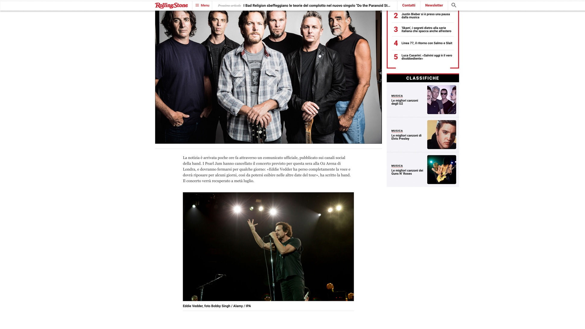 """""""Pearl Jam"""". Rolling Stone Italy. 06.19.2018"""