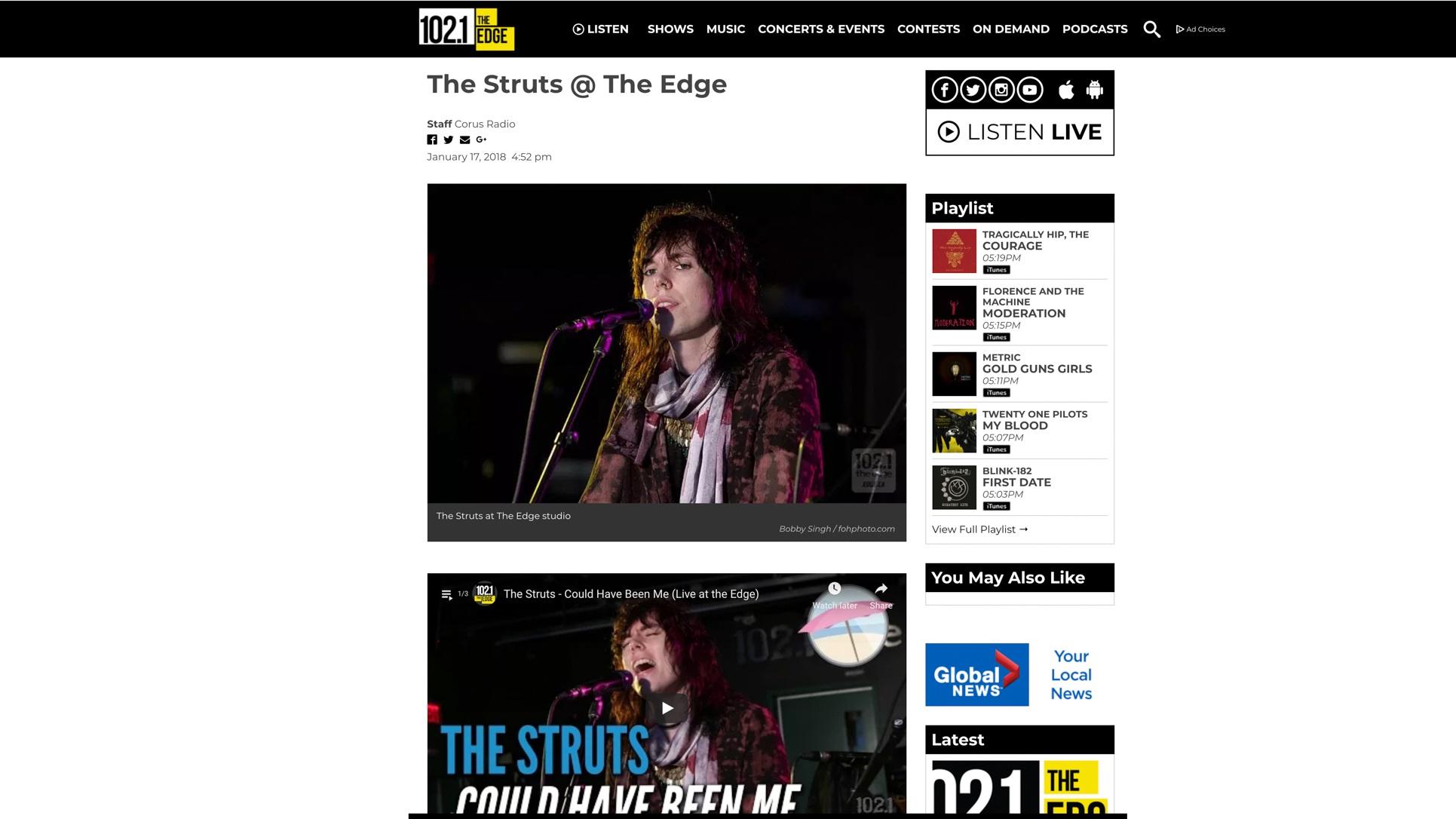 """The Struts"". Edge/Corus Radio. 01.17.2018"