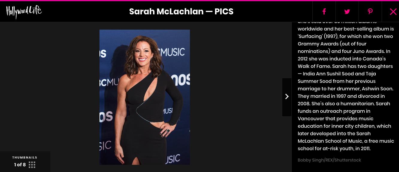 HollywoodLife. Sarach McLachlan