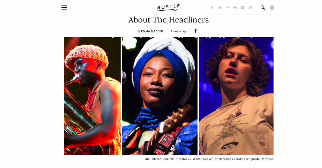 """Bustle. """"Glastonbury Acts to watch"""" King Princess"""
