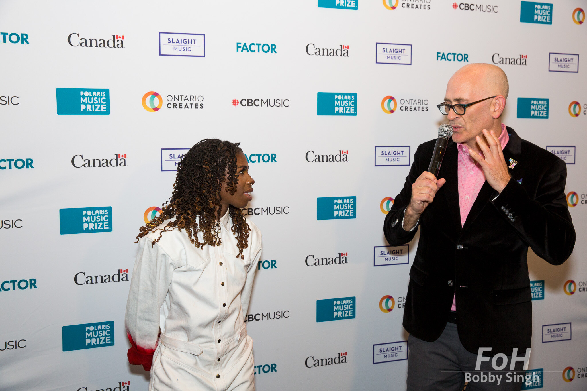 Winner Haviah Mighty with Executive Director Steve Jordan at the 2019 Polaris Music Prize Gala