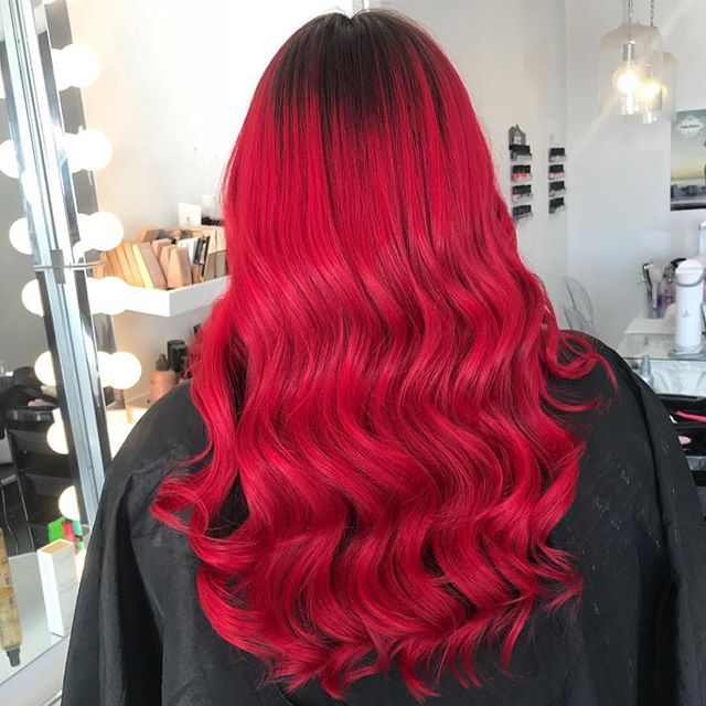 Root smudge and crazy colour by our amazing @hanfordhairxx ❤️🍒 Swipe for before pic————  #crazycolour #hair #haircolor #salon #redhair #waves #hairwaves #rootsmudge #hairdesigns