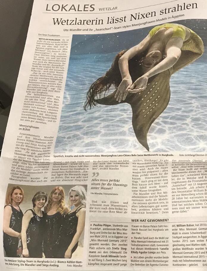 +++ Wetzlarerin lässt Nixen strahlen +++ Die Wetzlarer Zeitung hat einen tollen Bericht über das kreative Team von Ute Mandler und Ihren Haarscharf Studios https://www.facebook.com/Haarscharf-Ute-Mandler-245632968948588/ veröffentlicht👍Thema war deren Einsatz als Hairstyling-und Make-up Team bei der Miss Mermaid International in Ägypten🇪🇬💁♀️😍🧜♀️  https://www.instagram.com/kukuck_marketingberater/