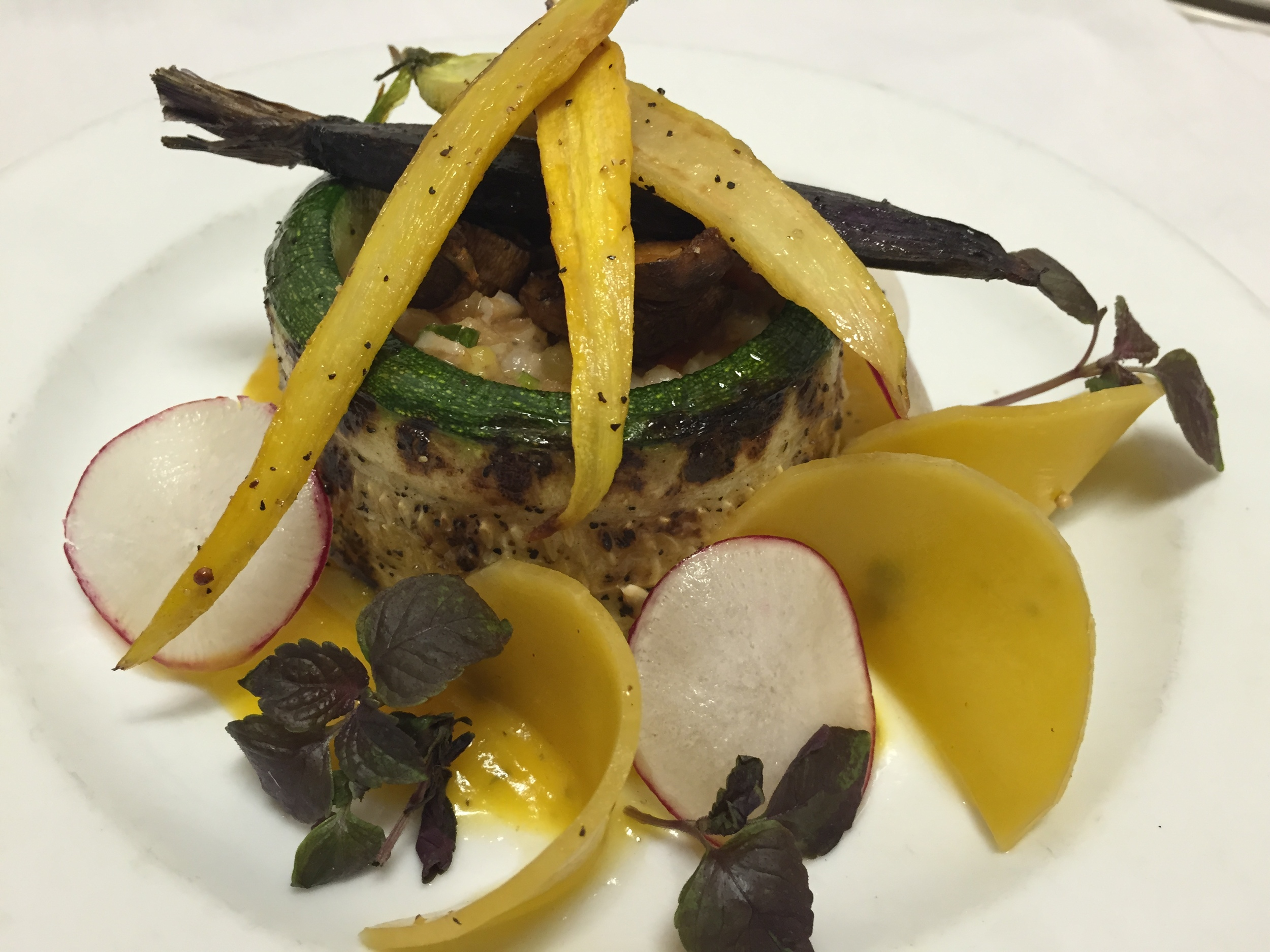Vegetarian Barley Risotto, Roasted Heirloom Carrots, Pickled Butternut Chips, Grilled Zucchini, Butternut Puree