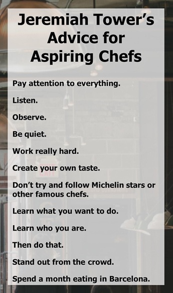 Chef Tower's advice for aspiring chefs