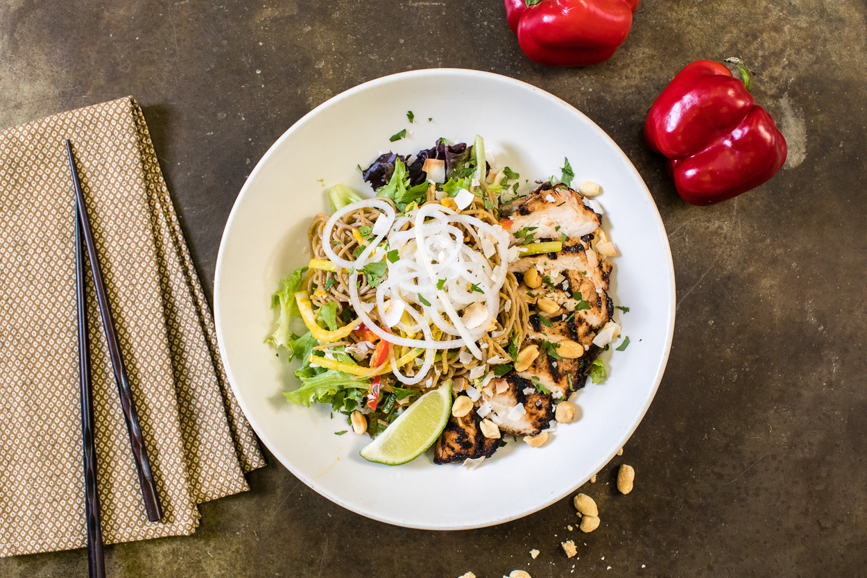 Buckwheat soba noodle salads
