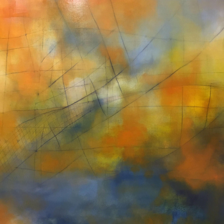 "Water Over the Bridge, 60"" x 60"", oil on  birch panel, 2018"