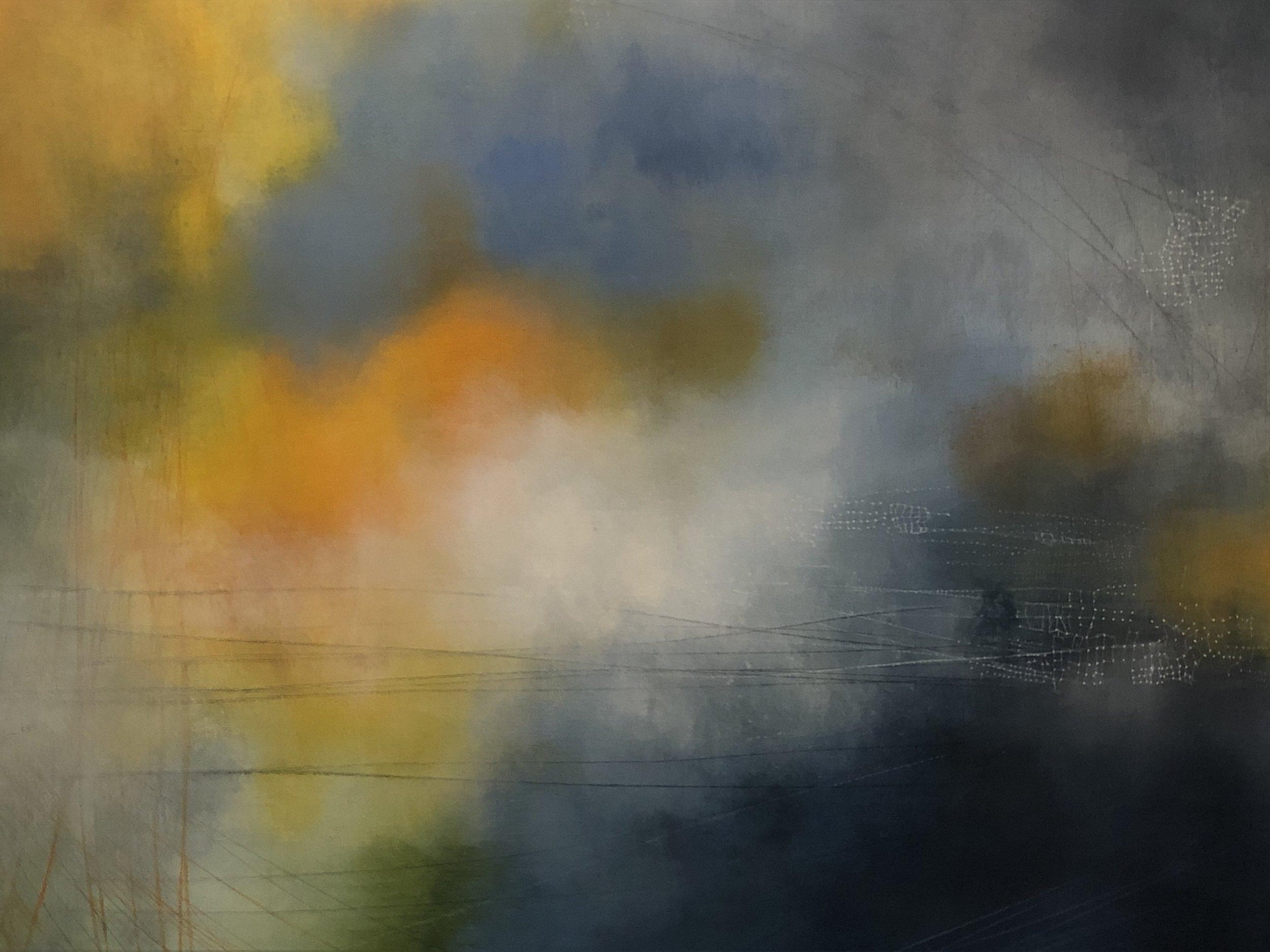 """Full Moon Wheel  Oil on birch panel 30"""" x40"""" 2018"""