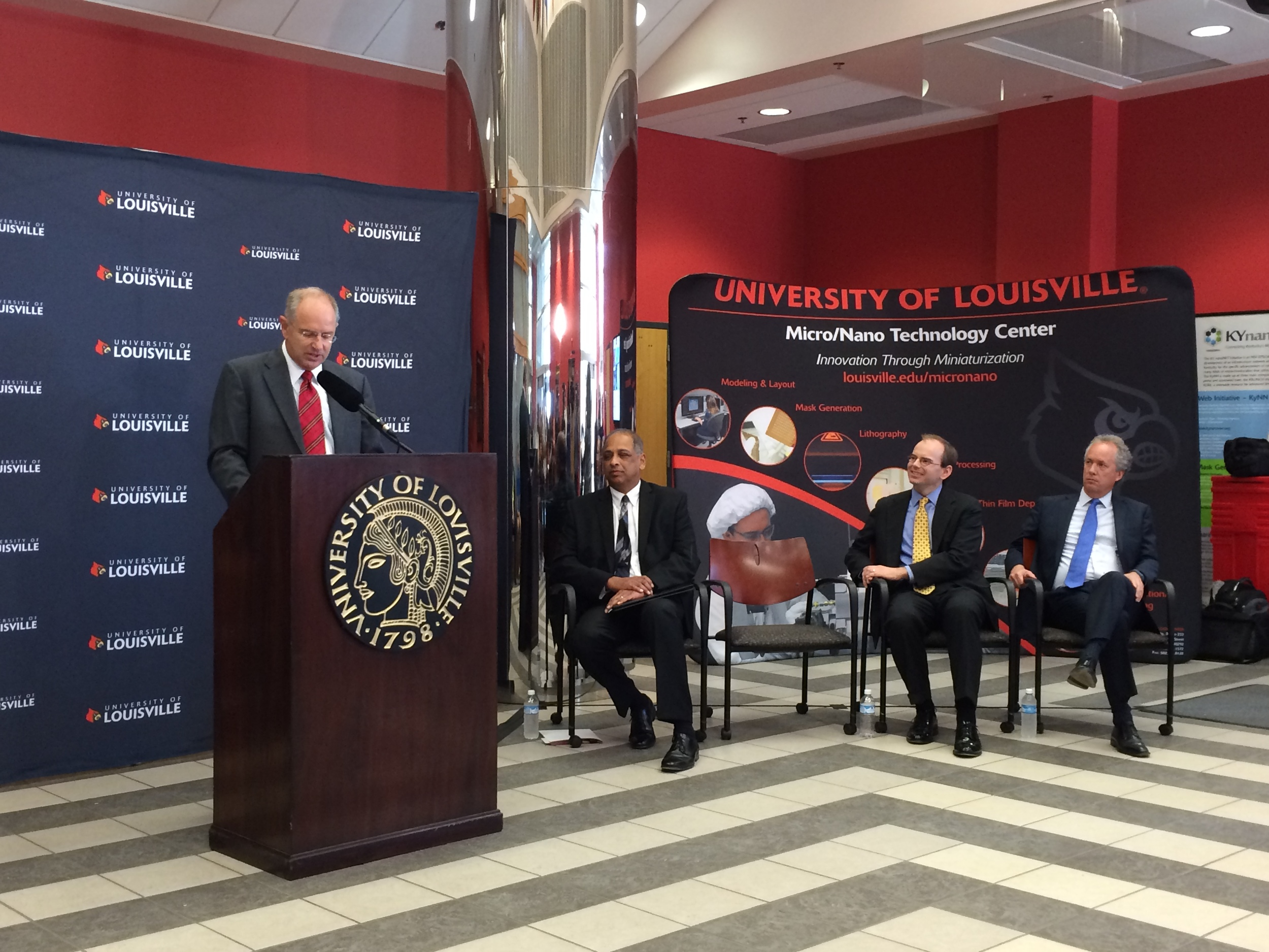KY MMNIN PI Prof. Kevin Walsh, Provost Pinto, CO-PI Prof. Todd Hastings, and Mayor Fisher