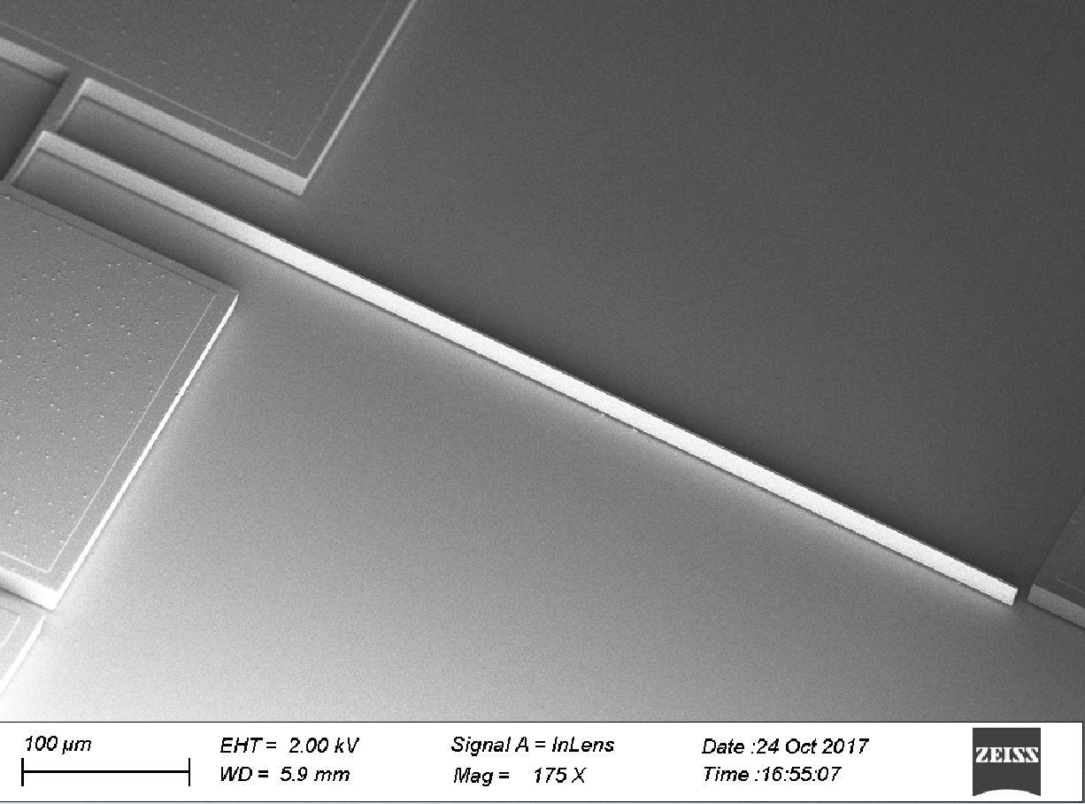 High aspect ratio free-standing MEMS resonator (655 um long, 2 um wide and 15um thick)
