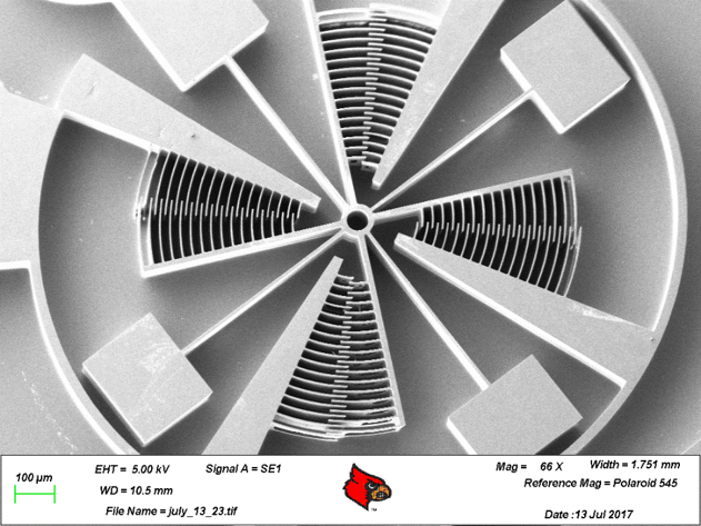 SEM micrograph of mm-size rotary comb drive with 6 microns comb gaps. This rotary joint will be used as a an arm or base joint for AFAM.