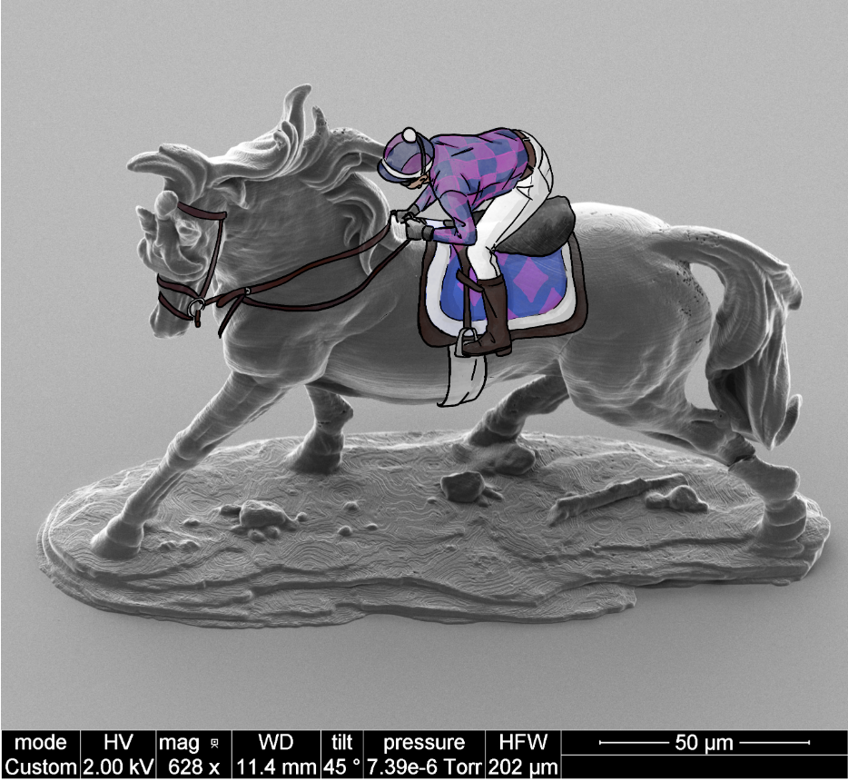 """- Image by: Brian WadjdykImage title: """"It's an SEM photo finish...Nano-Secretariat wins by 3 voxels!""""Image description: The Nano Horse structure was fabricated at the KY Multiscale NNCI Site using Nanoscribe 3D printing technology. Nano Jockey hand-drawn by Fine Arts undergrad Mallory Lucas."""
