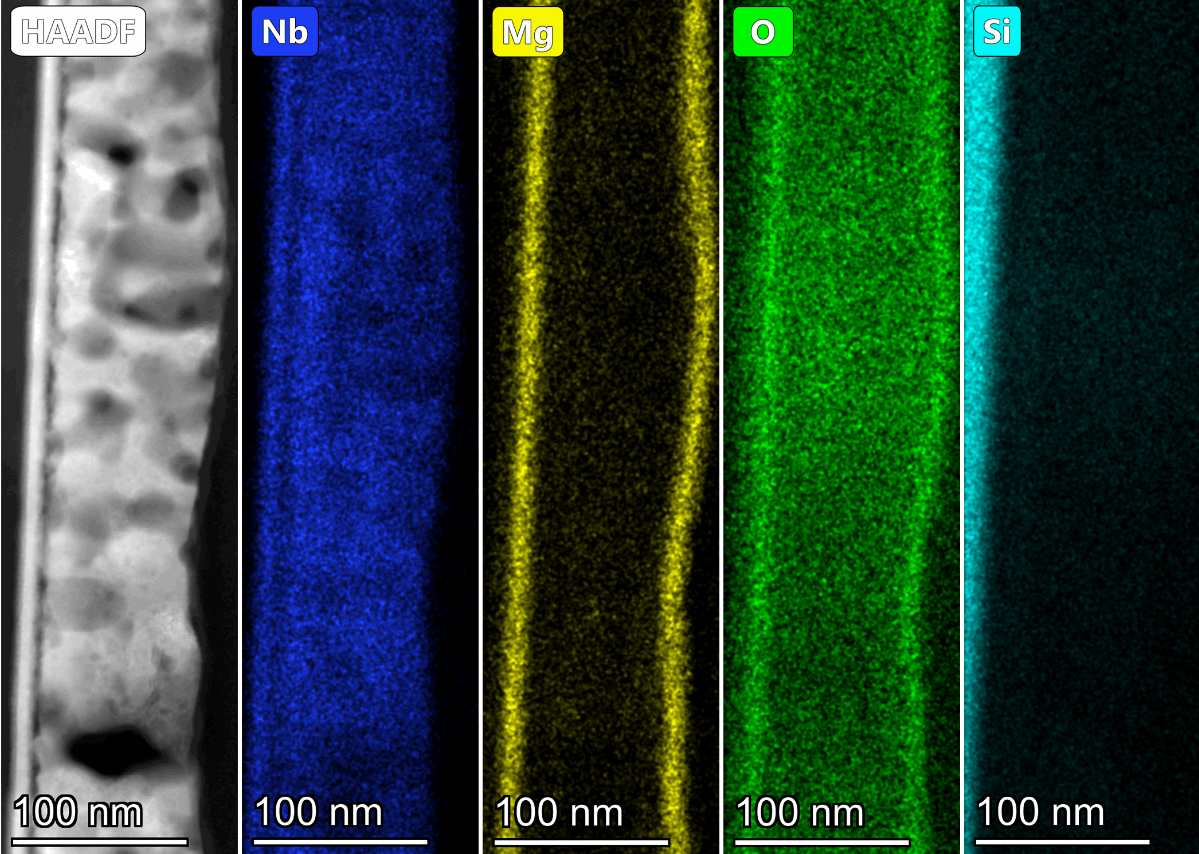 - Image by: Maria KosmidouImage description: Cross section of Nanoporous Niobium thin film (approx. 100nm of thickness), fabricated after Vacuum Thermal Dealloying Technique from a Magnesium based precursor alloy (at. % Mg75Nb25) via Physical Vapor Deposition. The lift-out specimen has been prepared via Focused Ion Beam. Figure contains five frames: A High-Angle Annular Dark-Field imaging (HAADF), which is a STEM technique that is highly sensitive to variations in the atomic number of atoms in the sample, as well as four frames with EDSX results of Niobium, retained Magnesium, formed Oxygen and Silicon substrate (as shown from left to right).