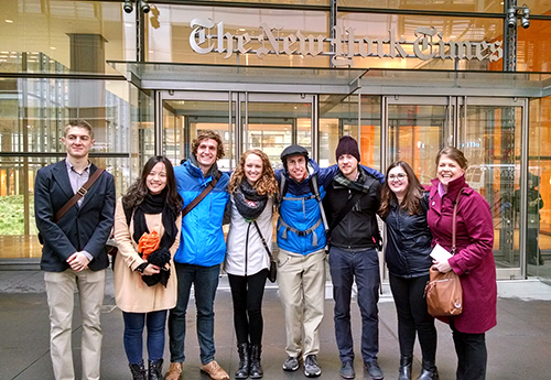 Tanya Buckingham (right) and Cart Lab student employees in front of the NYT