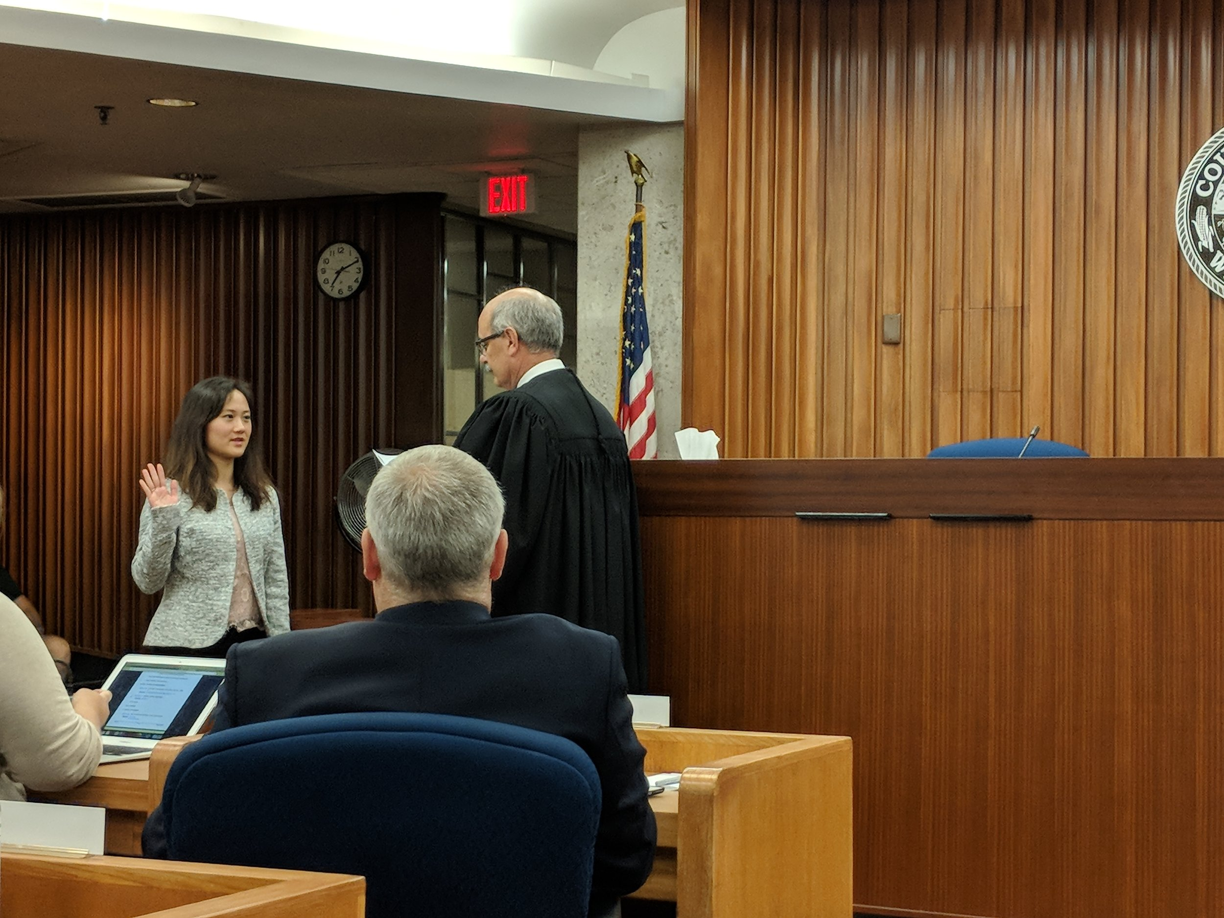 Huong Nguyen-Hilfiger  is sworn in as supervisor for district 14