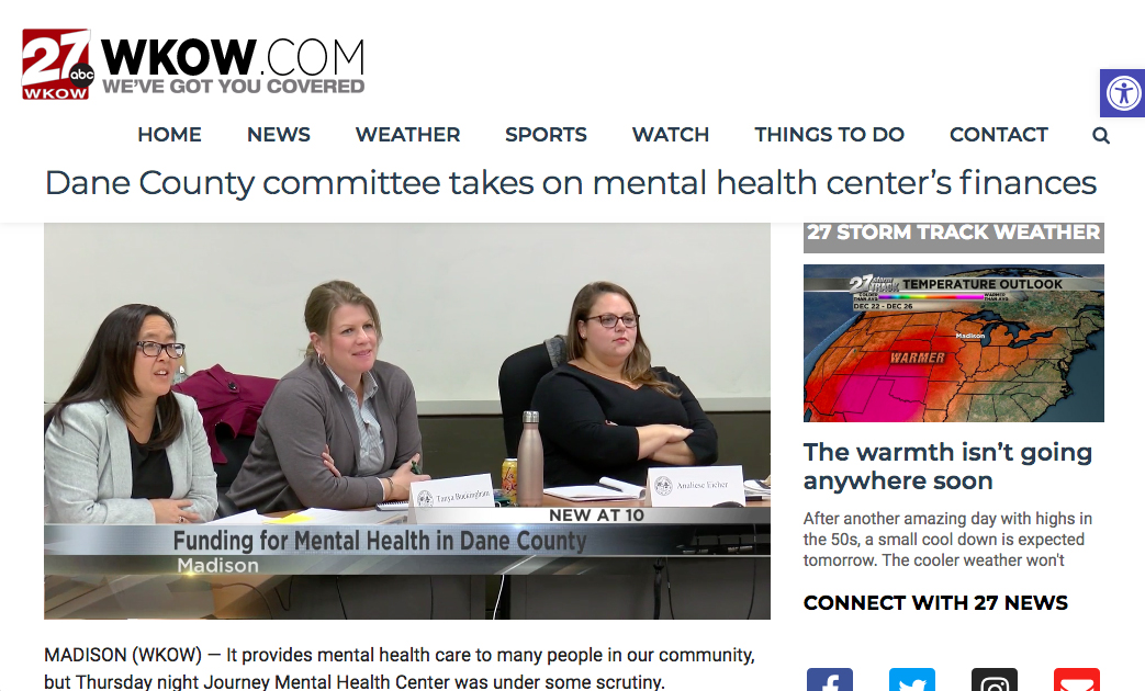 WKOW Coverage of Health and Human Needs Budget meeting , October 25
