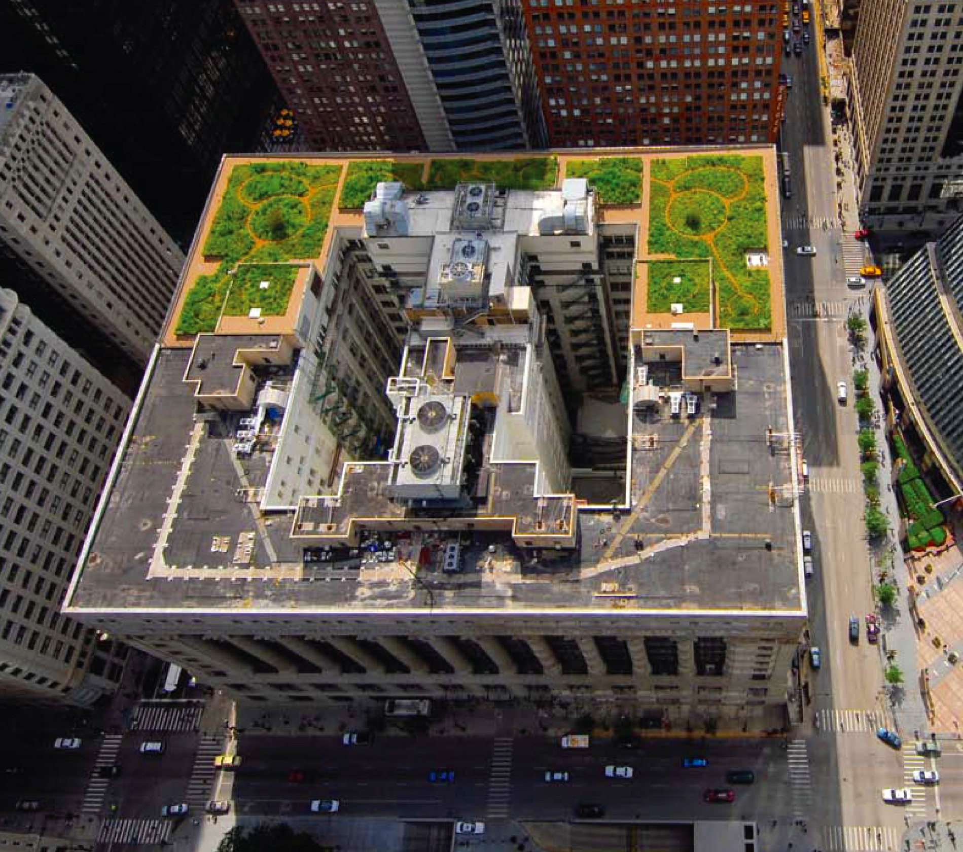 Chicago City Hall's green roof — temperature differences between the vegetated and non-vegetated claimed to be as much as 70°