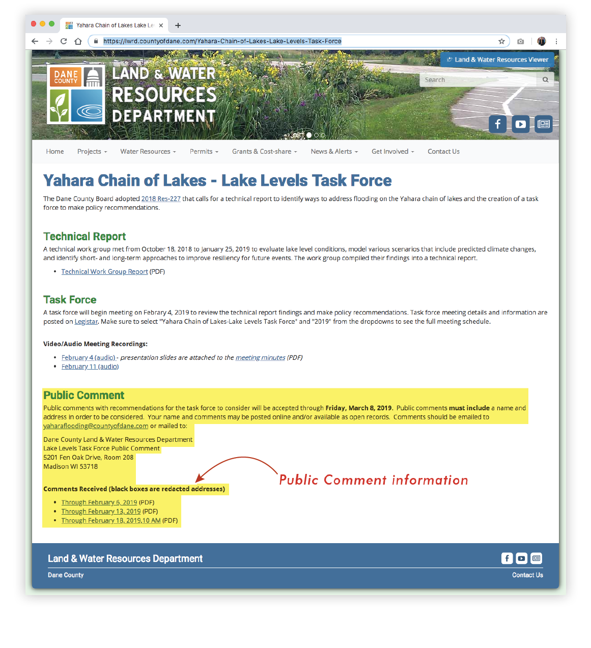 LAnd & Water REsources department, Yahara Chain of Lakes - Lake Levels Task Force WEbsite