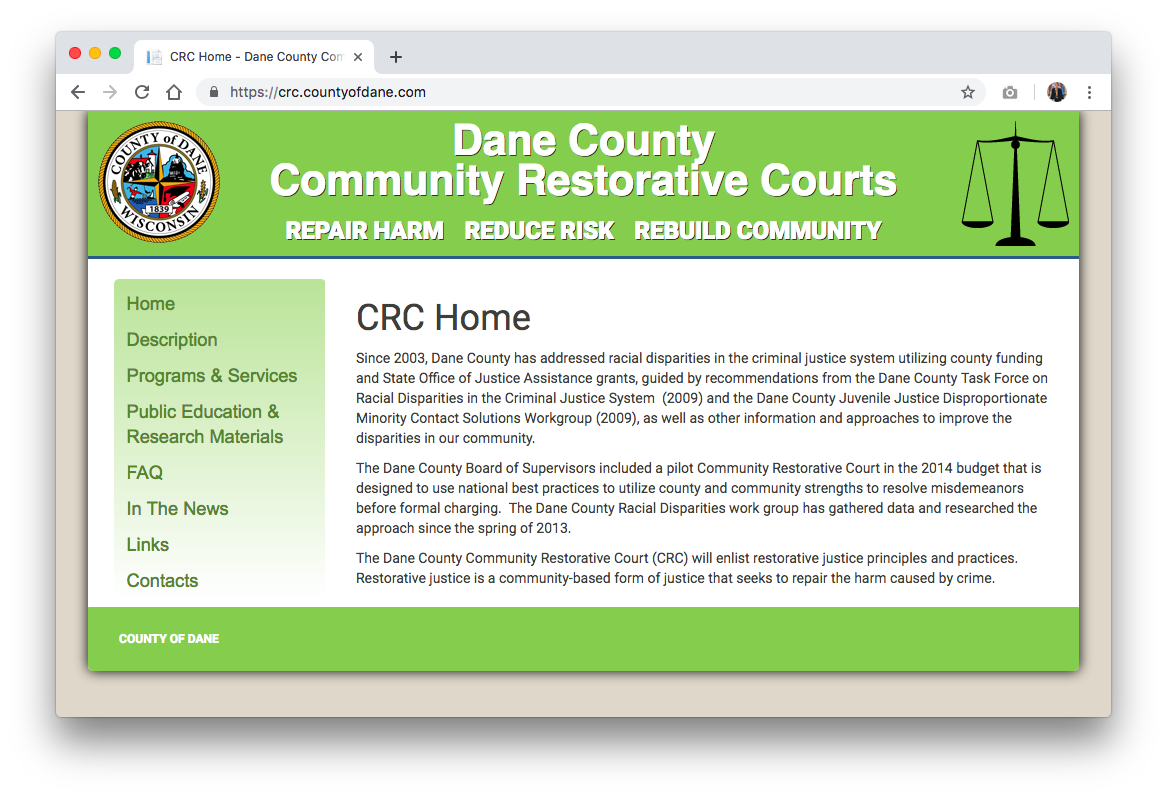 Dane County Community Restorative Courts