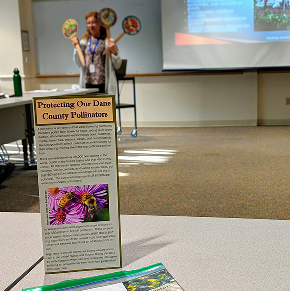 Mindy Habecker, Dane County Extension Natural Resources Educator, talking about pollinators