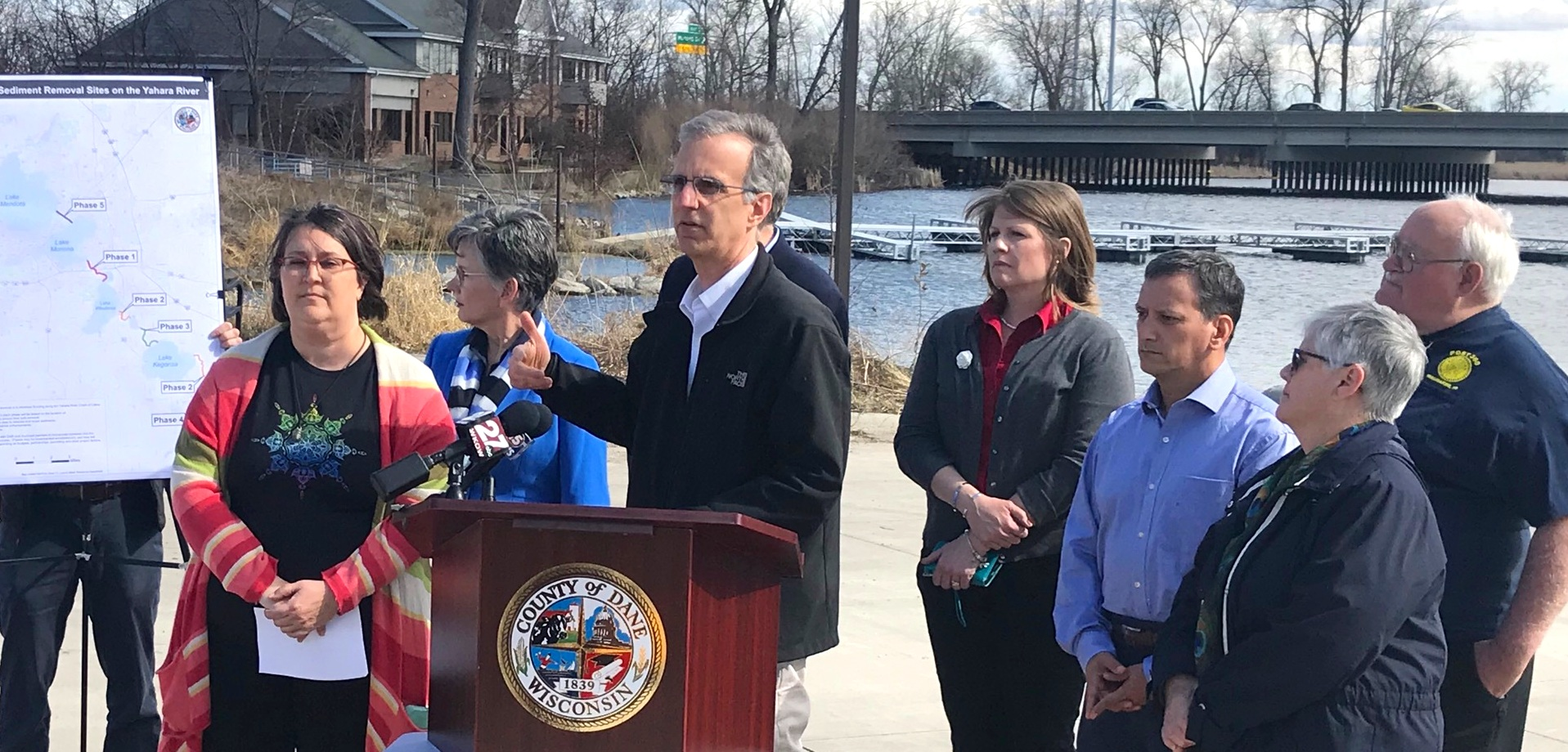 County Executive Parisi at Lottes Park announcing Lake Level Recommendations