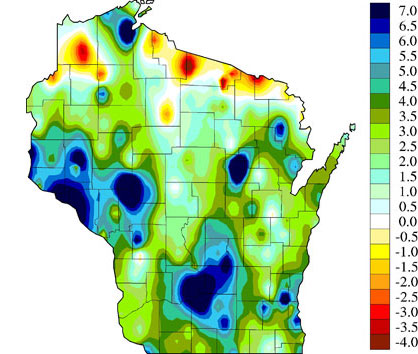 Change in Annual Average Precipitation (inches) from 1950 to 2006   Source: www.wicci.wisc.edu