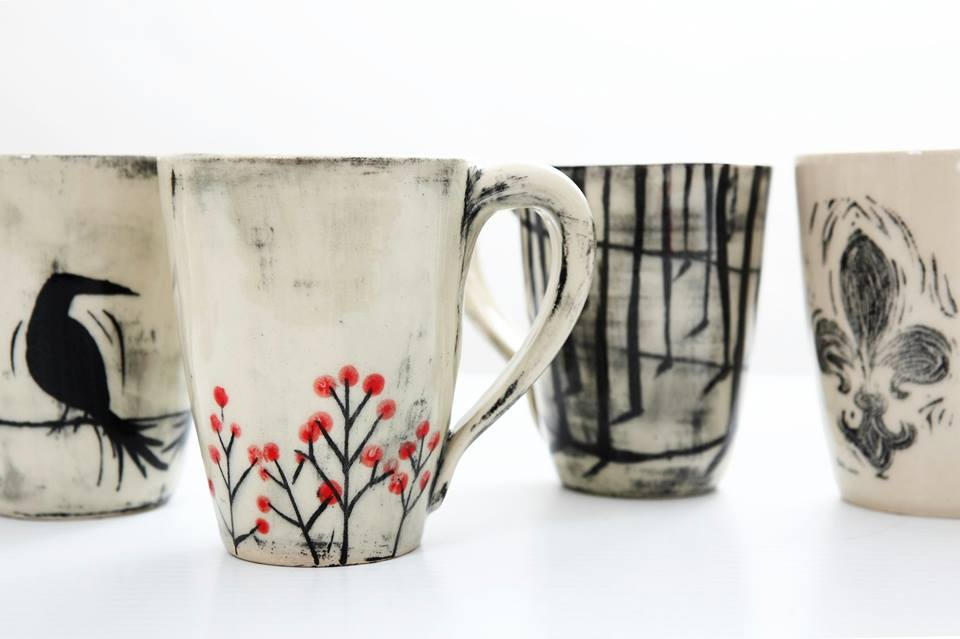 April Gates - Mugs with birds and red berry trees.jpg