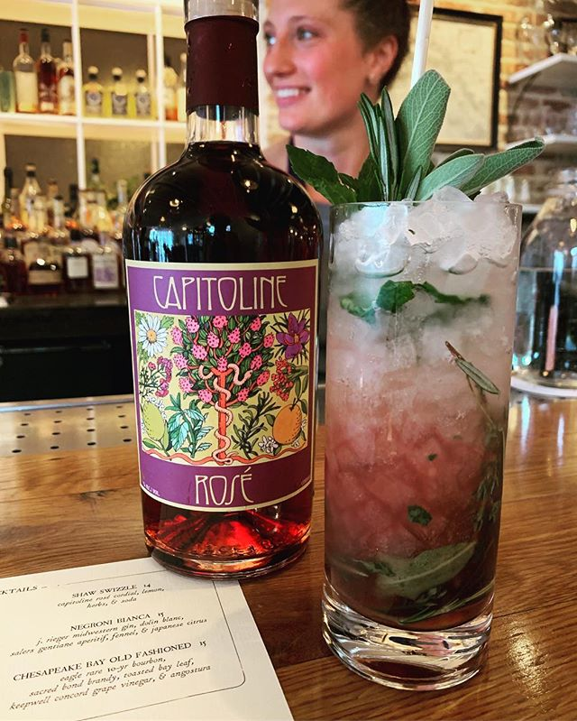 It's 80° in DC, around @thedabneydc that's called #swizzle weather. •Capitoline Rosé •Fresh #herbs •Lemon & Soda